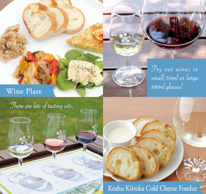 Wine Plage/Try out wines in small 30ml or large 100ml glasses!/There are lots of tasting sets./Koshu kiiroka Cold Cheese Fondue